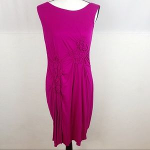 Caite Sleeveless Ruching Fitted Dress Pink Size L
